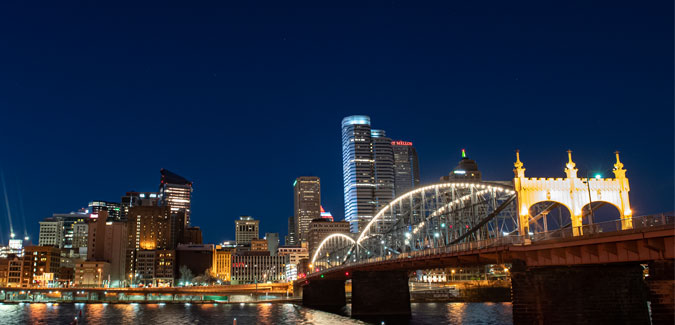 Part of the downtown Pittsburgh skyline, including the Smithfield Street bridge.